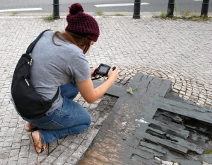 Hoffman takes more photos on the site where student Jan Palach lit himself on fire to draw attention to the plight of the Czechoslovak people