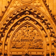 Cathedral of St. Vitus has ornate Gothic doors.