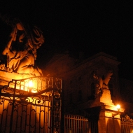 The gates to the castle have sculptures of Titans, made by I. F. Platzer in 1770.