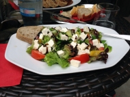 Again from Konírna , another good choice is Greek salad with vegetables, olives, onion, cheese and white balsamic vinaigrette