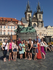 Slightly jet-lagged but awed by their surroundings, the Kent State group poses in Old Town, Prague, in front of the Jan Hus statue. (photo by Bibiana Hakosova)