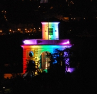 To celebrate of LGBT Pride Week, the U.S. Embassy in Prague glowed with rainbow colors.