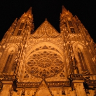 St. Vitus Cathedral is one of more than 20 buildings on the Prague Castle grounds. Czech kings and queens have been crowned here, and the Bohemian Crown Jewels are here on the site that was first a church in 925. Charles IV began building this Gothic cathedral in 1344.