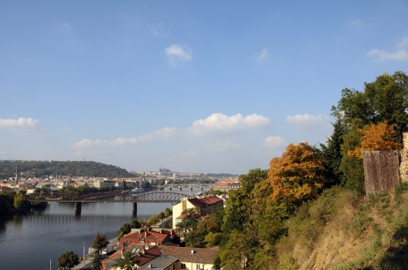 The view from the wall remaining around part of Vyšehrad Citadel makes it clear why early rulers chose this spot for a castle.