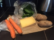 Carrots, spinach, cheese and potatoes -- or mrkev, špenát, sýr a brambory