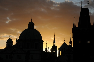 Sunrise over Old Town in will still silhouette some of Prague's 100 spires.