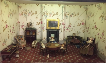 Oldest house in the collection from the 1700s was probably decorated with scraps of the owners' own wallpaper.