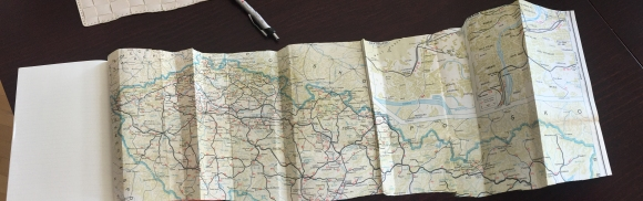 The truly trickiest part was the map, which shows the train we took in 1990, the first time visiting Prague, and then going to the Slovak area and across into Poland.